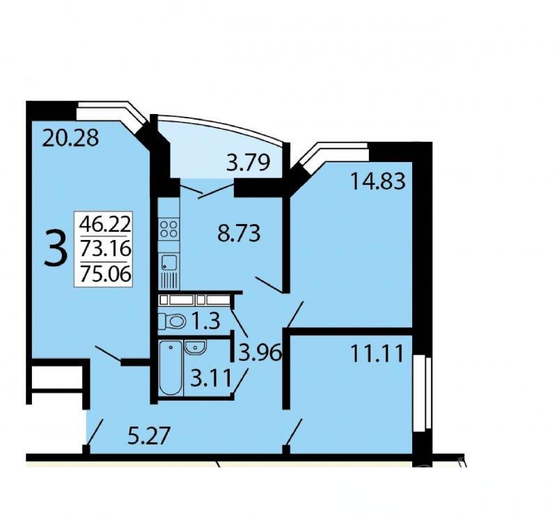 Продается трехкомнатная квартира по